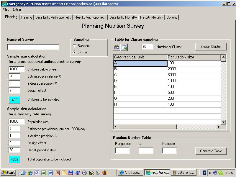 Anthropometric Survey – Sample Rate Sheet